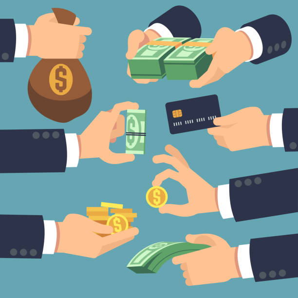 Businessman hand holding money. Flat icons for loan, paying and cash back concept Businessman hand holding money. Flat icons for loan, paying and cash back concept. Vector money cash, pay and giving illustration fee stock illustrations