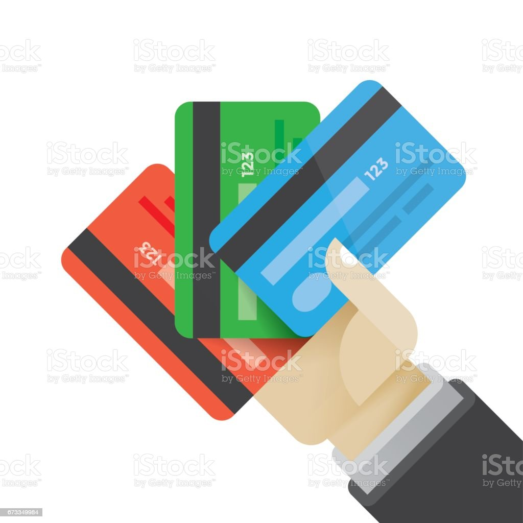 Technology Management Image: Businessman Hand Holding Multi Colored Credit Cards Idea