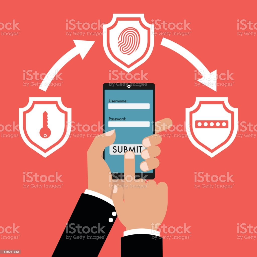 Businessman hand holding smart phone tablet with multi factor authentication concept with three shields on red background. Vector illustration business cybersecurity concept design. Businessman hand holding smart phone tablet with multi factor authentication concept with three shields on red background. Vector illustration business cybersecurity concept design. Variation stock vector