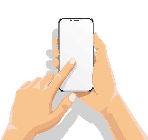 biznesmen trzyma smartfon i palec dotyk na pustym białym ekranie na białym tle z cieniem. człowiek za pomocą telefonu komórkowego, ilustracja vector płaskiej koncepcji projektu kreskówki. - ręka człowieka stock illustrations