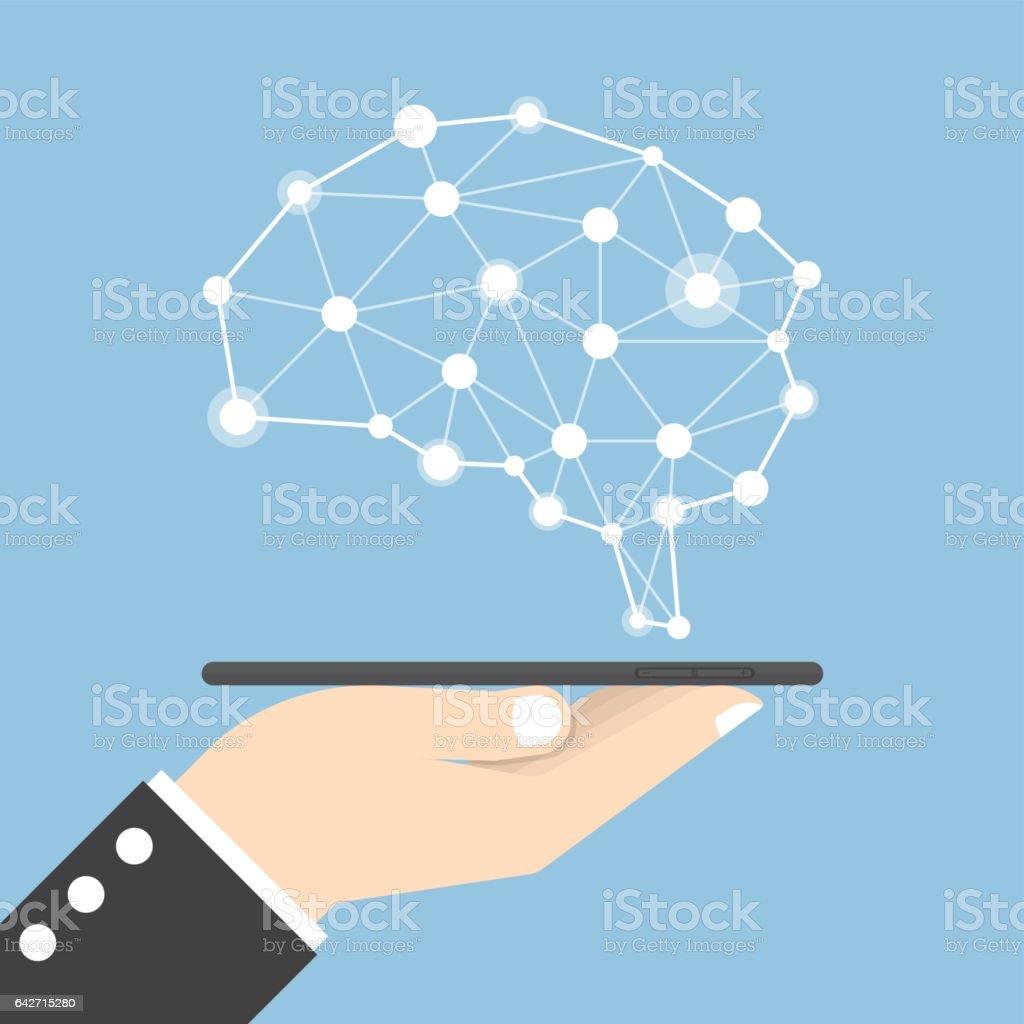 Tableta de explotación de mano de empresario con cerebro virtual - ilustración de arte vectorial