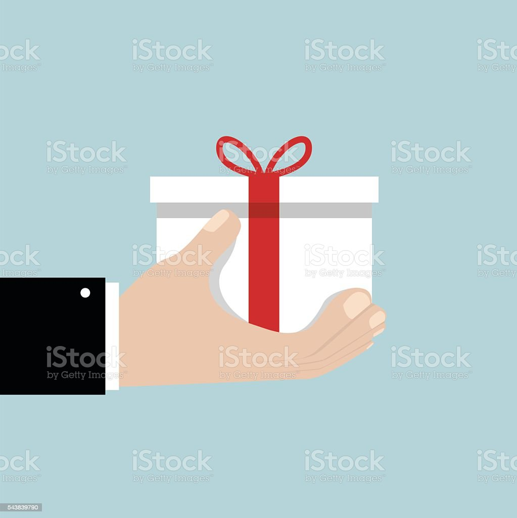Businessman hand holding white gift box with red bow. vector art illustration
