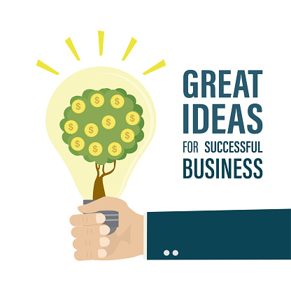 Businessman hand is holding glowing light bulb. Money tree in bulb. Great ideas for successful business, landing page template.