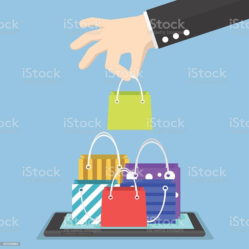 Businessman hand picking shopping bag on tablet vector art illustration