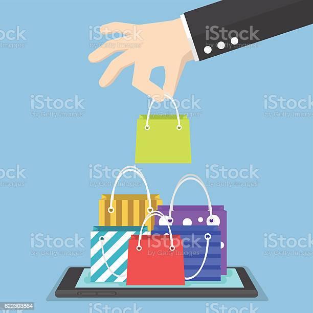 Businessman Hand Picking Shopping Bag On Tablet Stock Illustration - Download Image Now