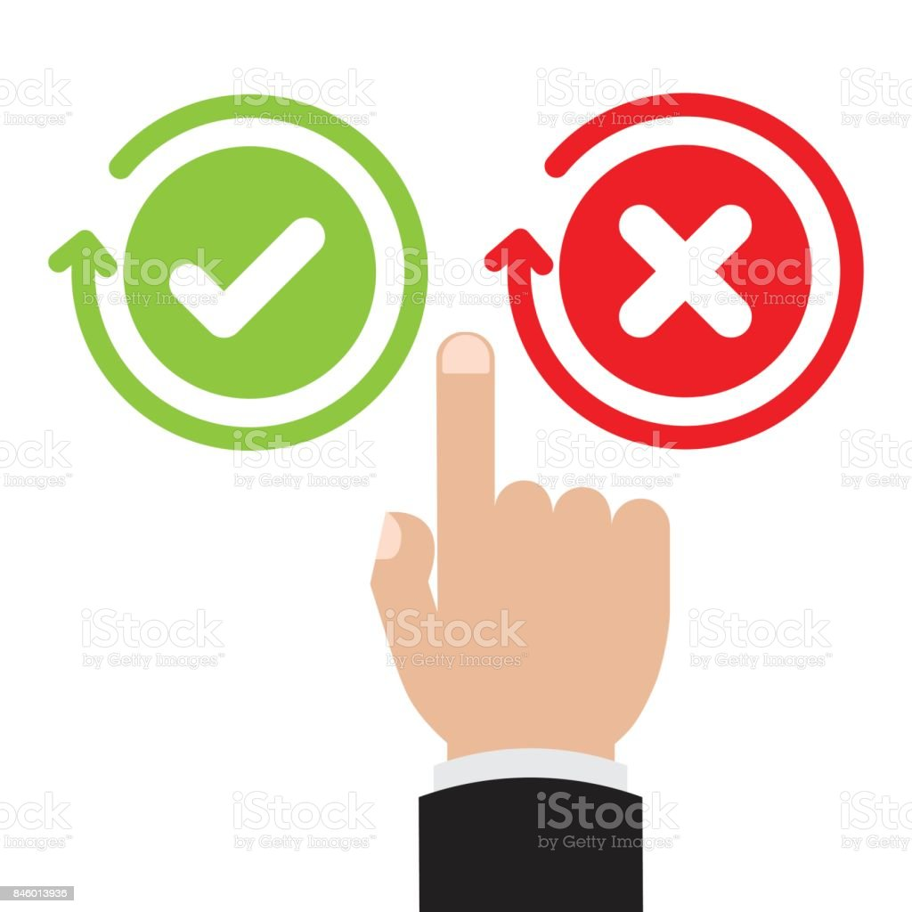 Businessman hand point to green check mark and red x mark right businessman hand point to green check mark and red x mark right and wrong for feedback buycottarizona