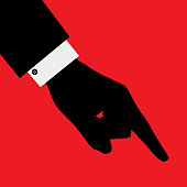 Vector illustration of a business mans hand pointing on a red square background.