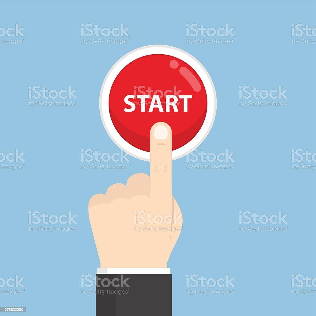 Businessman hand pressing start button – Vektorgrafik