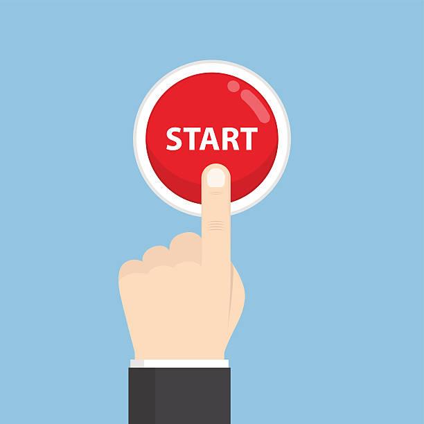 businessman hand pressing start button - anfang stock-grafiken, -clipart, -cartoons und -symbole