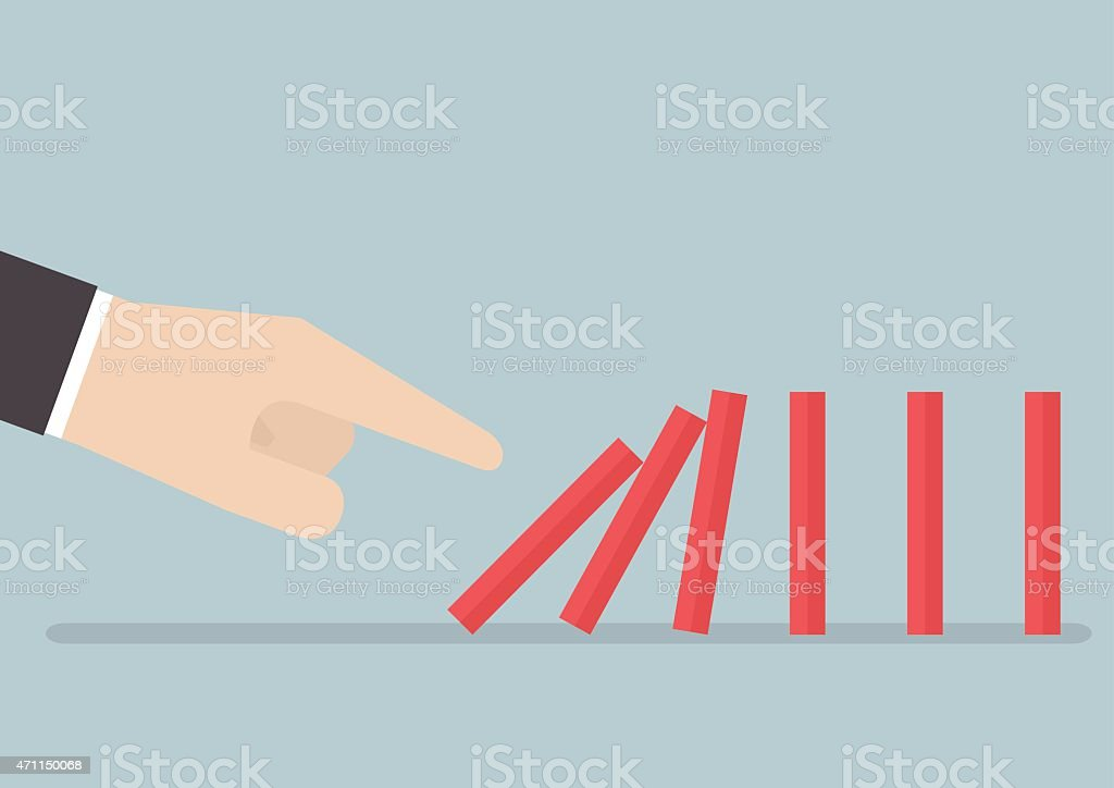 Businessman hand pushing the domino effect vector art illustration