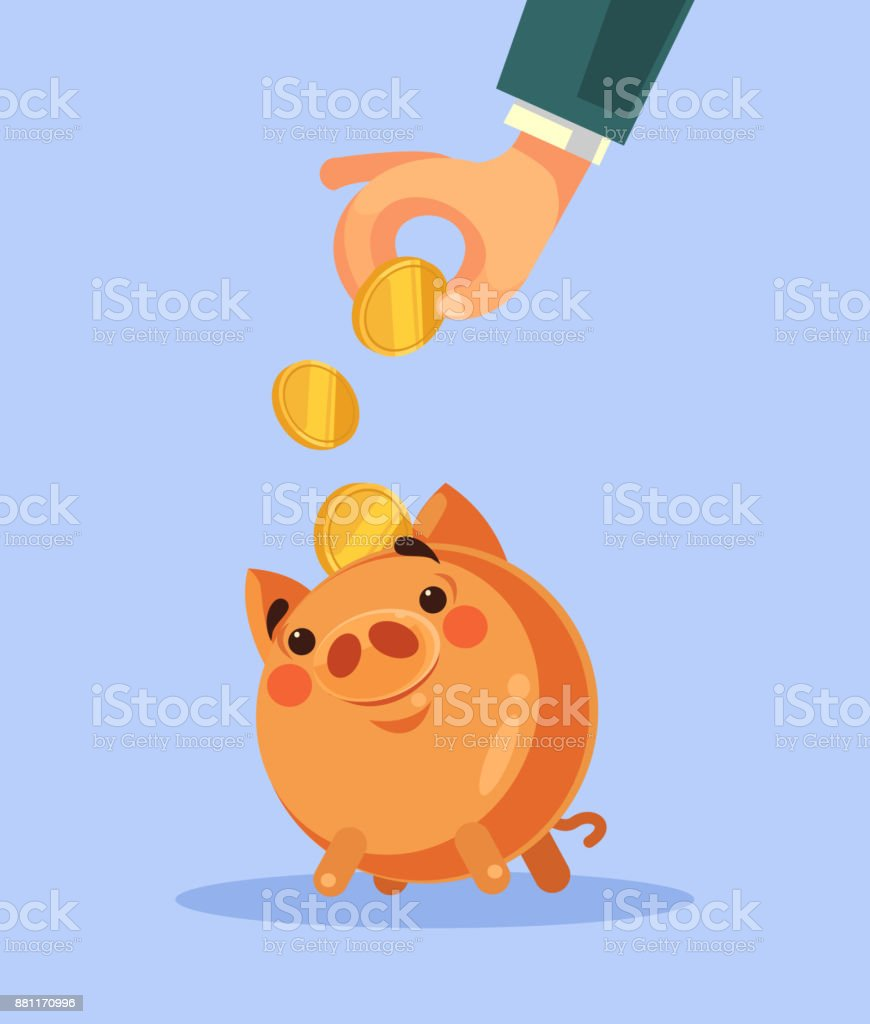 Businessman hand put gold coin in piggy bank vector art illustration
