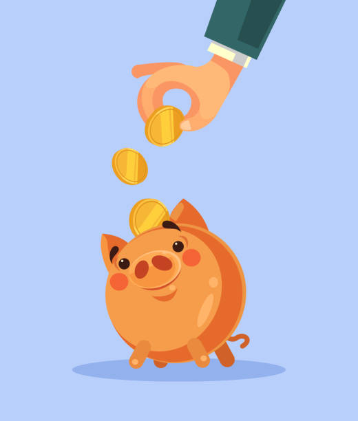 Businessman hand put gold coin in piggy bank Businessman hand put gold coin in piggy bank. Vector flat cartoon illustration safety deposit box stock illustrations