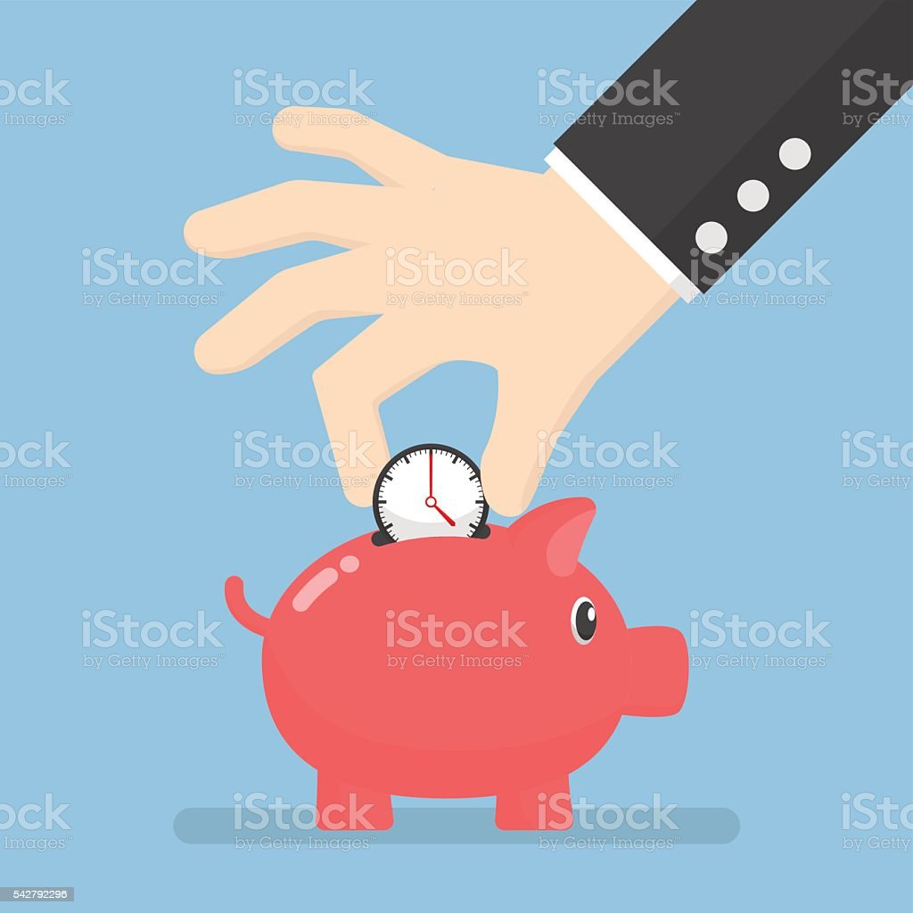 Businessman hand putting clock into piggy bank vector art illustration