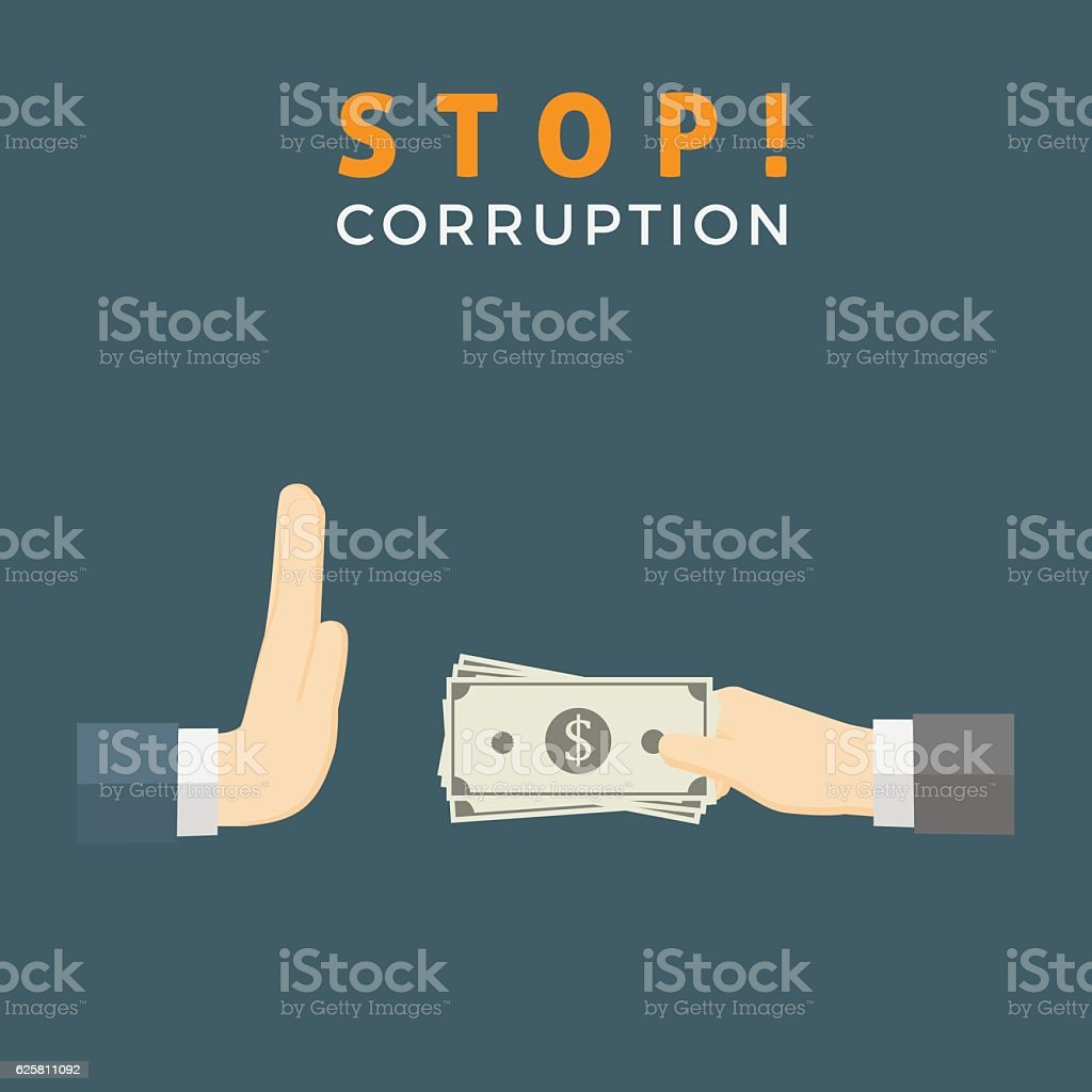 Businessman hand refusing an offering of money from another person vector art illustration