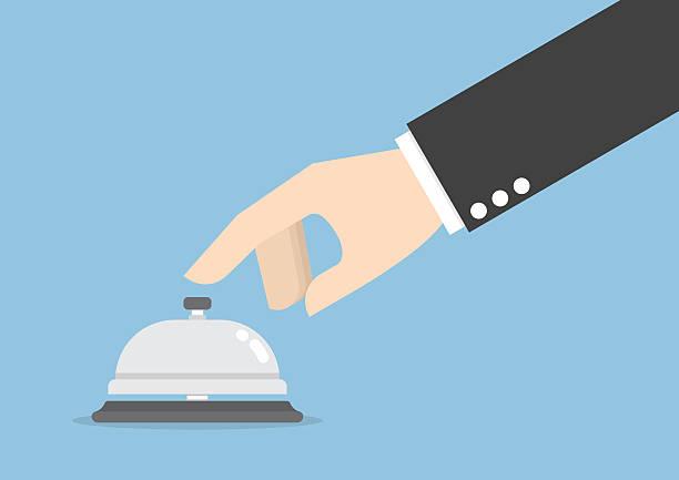 illustrazioni stock, clip art, cartoni animati e icone di tendenza di uomo d'affari mano che suona con campanello di servizio - hotel checkin