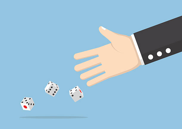 Businessman hand throwing dice Businessman hand throwing dice, take a chance, gambling and business risk concept rolling stock illustrations