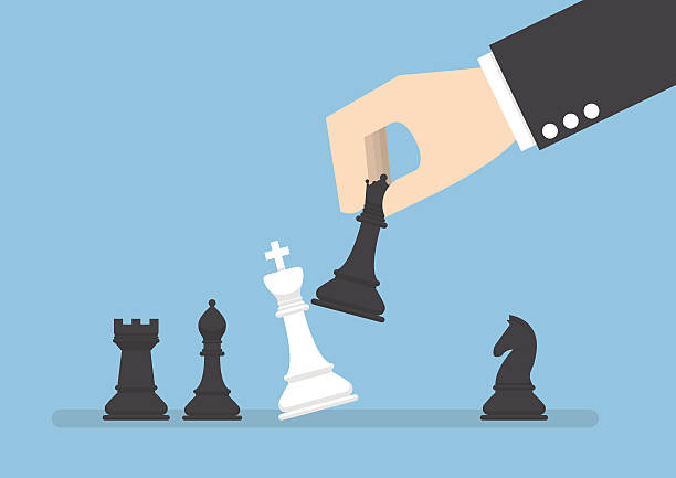Businessman hand use black queen checkmate the white king Businessman hand use black queen checkmate the white king, business strategy, eliminate rival concept chess knight silhouette stock illustrations