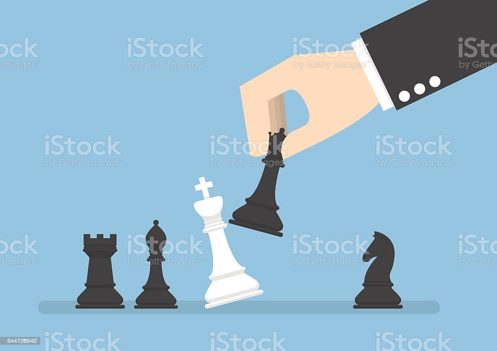Businessman hand use black queen checkmate the white king