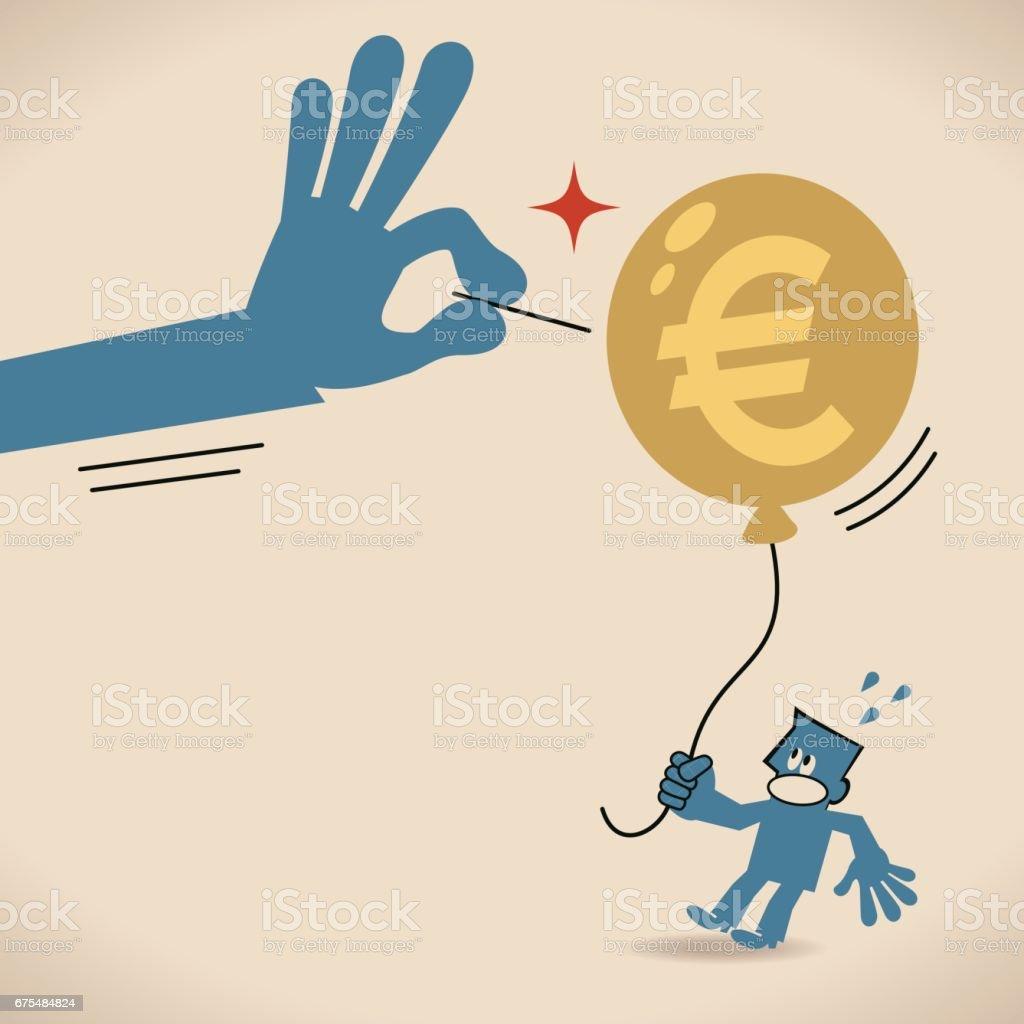 Main d'homme d'affaires à l'aide de l'aiguille pour piquer (burst) ballon signe Euro main dhomme daffaires à laide de laiguille pour piquer ballon signe euro – cliparts vectoriels et plus d'images de adulte libre de droits