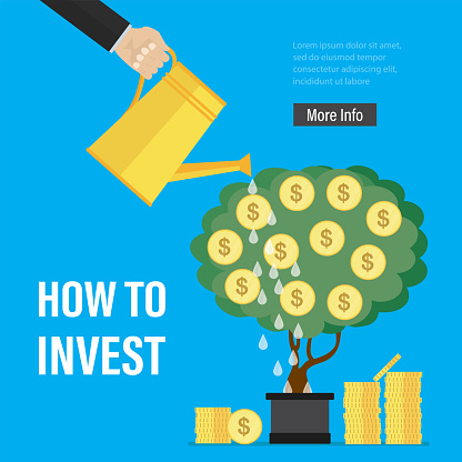 Businessman hand watering money tree. How to invest, landing page template. Profitable business projects, development of new startups.