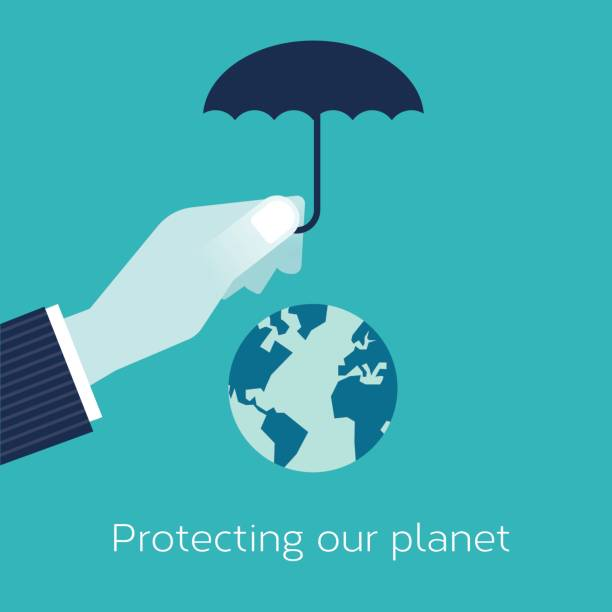 Businessman hand with an umbrella protecting the planet vector art illustration