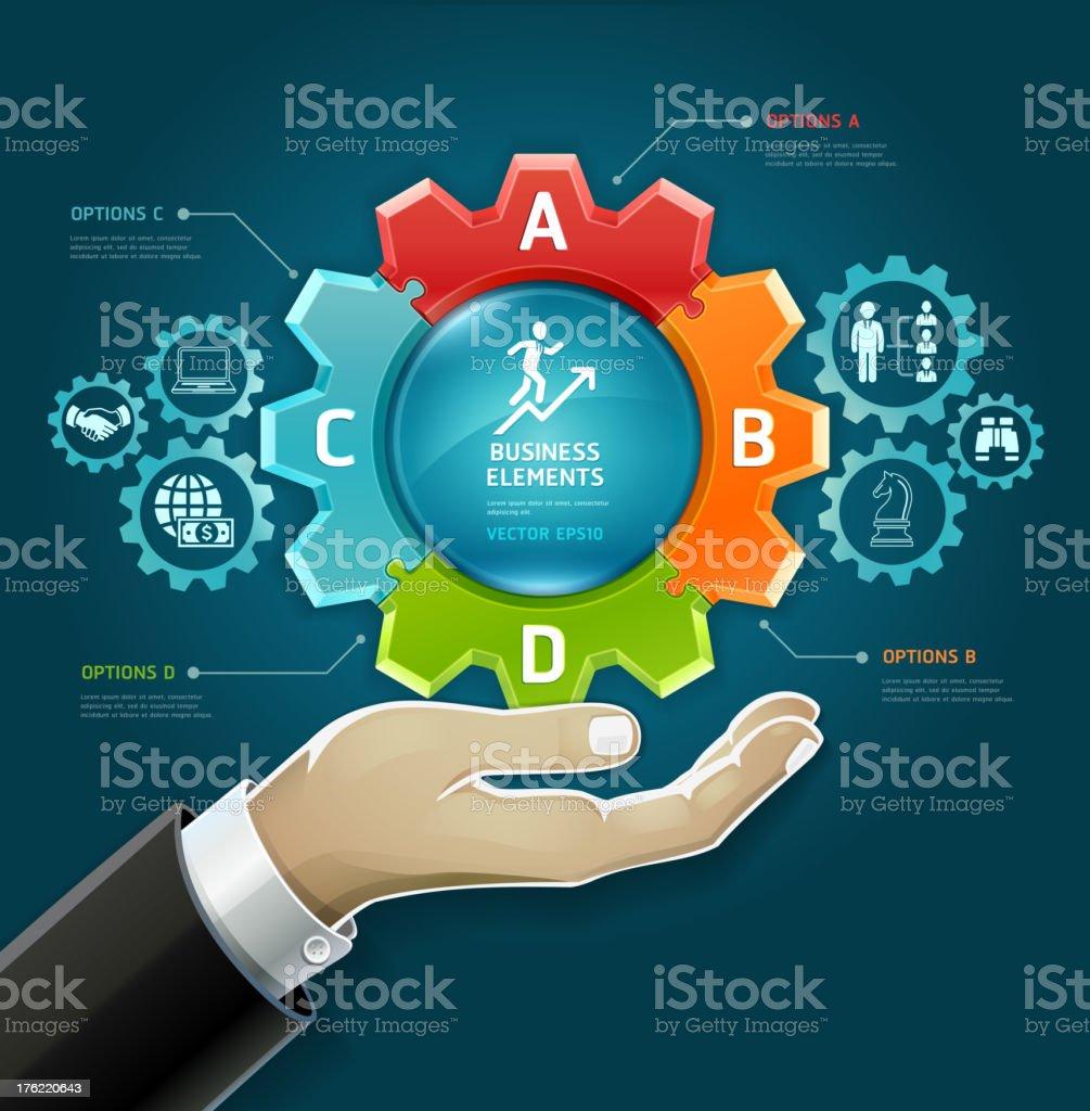 Geschäftsmann hand mit Getriebe-symbol. – Vektorgrafik