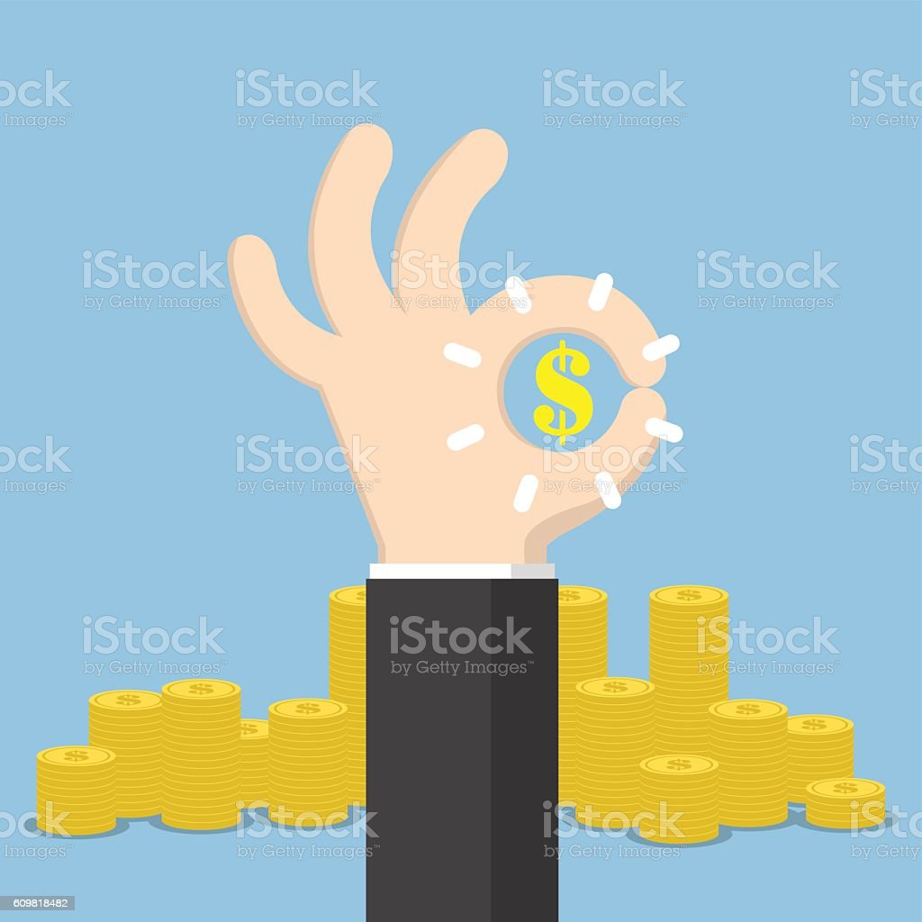 Businessman hand with ok and dollar sign vector art illustration