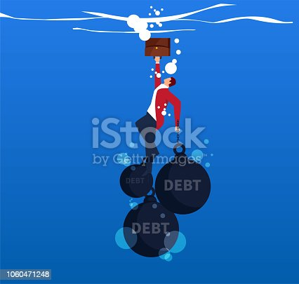 Businessman hands and feet tied with iron balls falling into the water