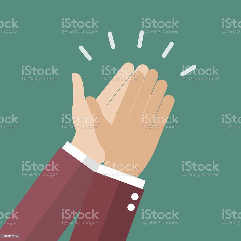 Businessman hands clapping vector art illustration