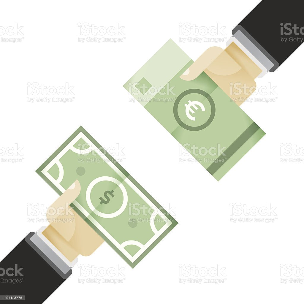 Businessman hands exchanging dollar and euro vector art illustration