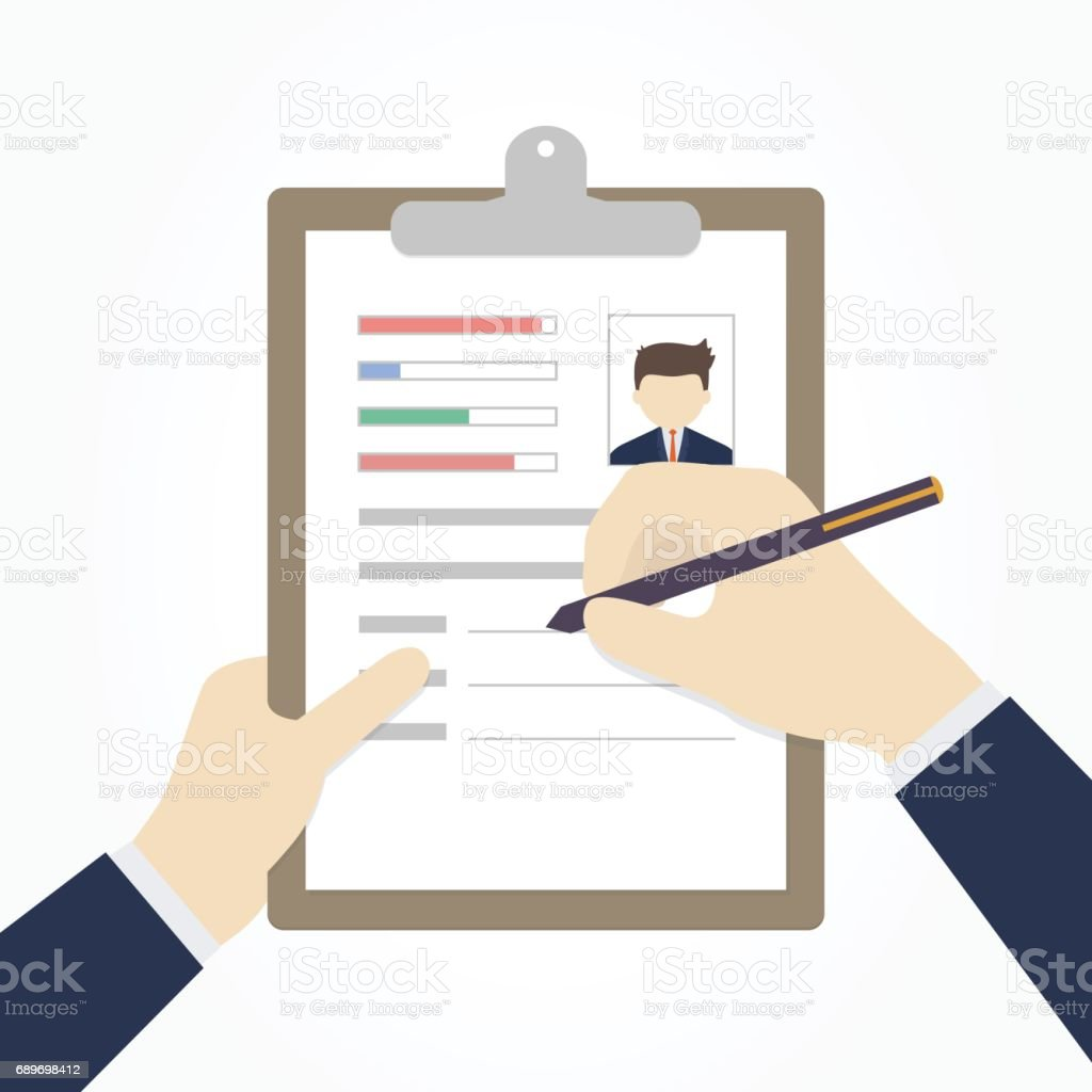 Businessman Hands Fill A Resume Or Application Form. Vector Illustration.  Royalty Free Businessman  Fill In Resume