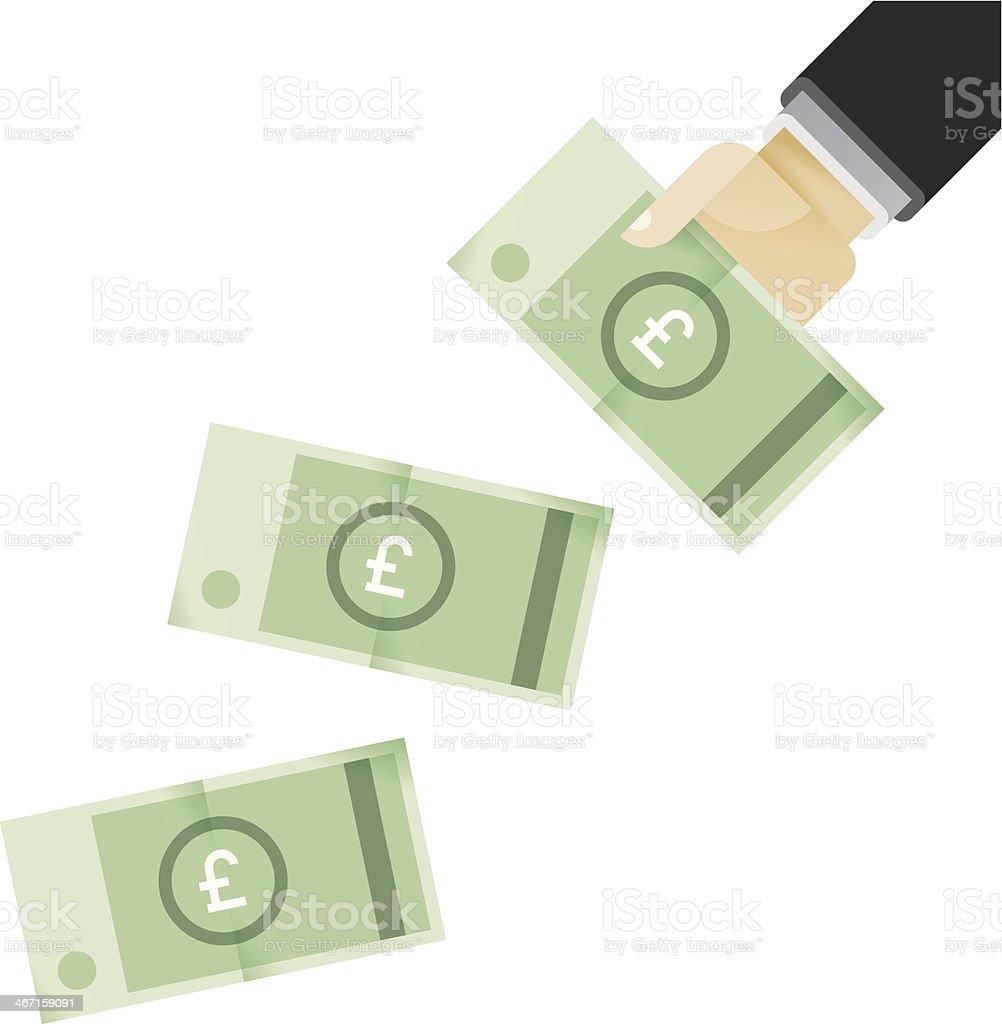 Businessman hands giving money - British pounds (GBP) vector art illustration