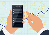 Businessman hands hold smartphone with wish list app on display screen for successful profitable business amid growing sales graph and icons. Vector wishlist mobile phone application illustration