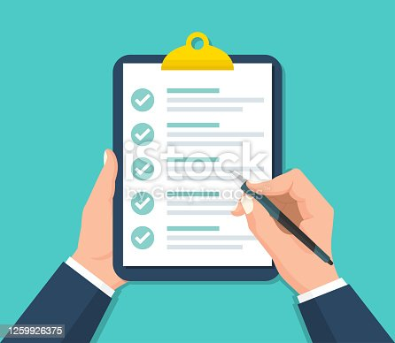 istock Businessman hands holding clipboard with checklist in a flat design 1259926375