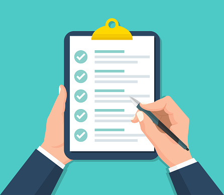 Businessman hands holding clipboard with checklist in a flat design