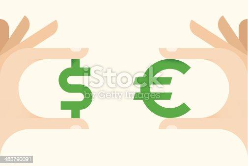 Businessman hands holding dollar and euro symbols.