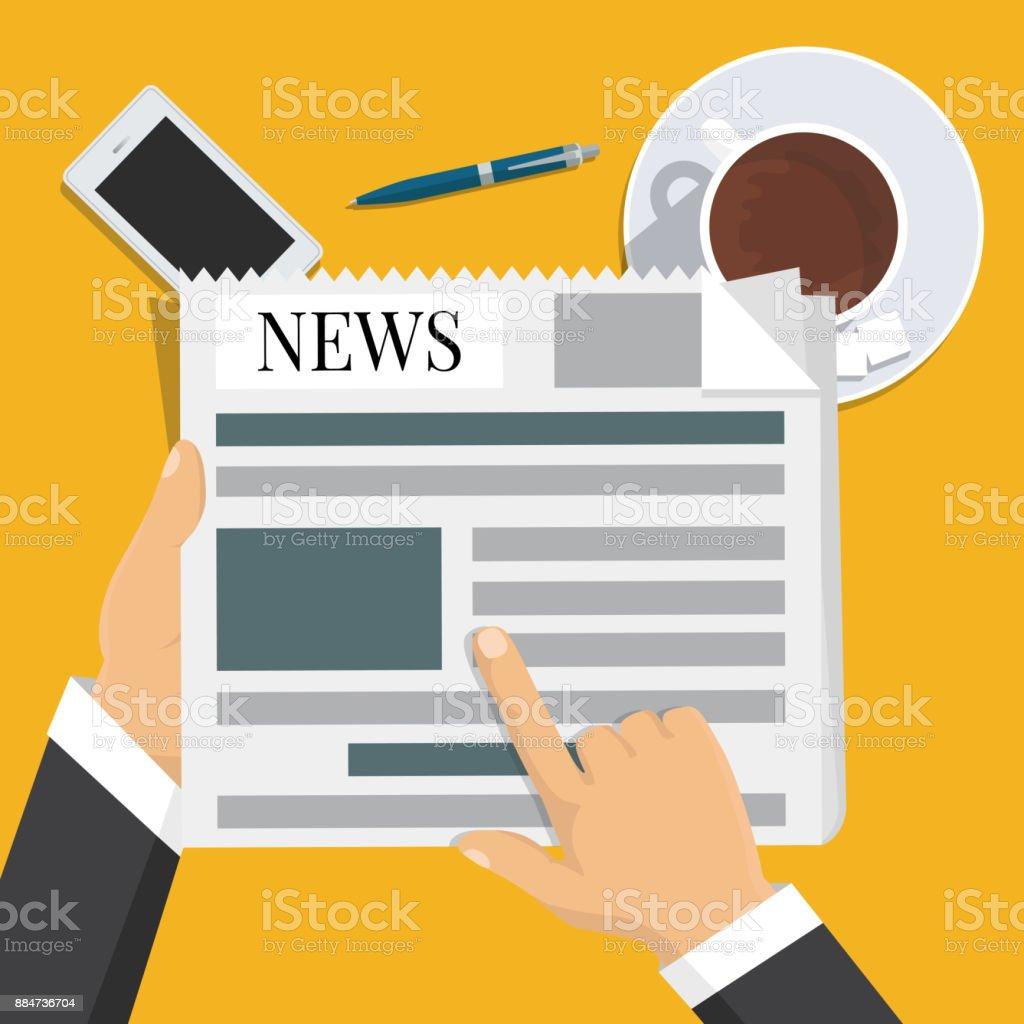 Businessman hands holding newspaper. News words, coffee break, lunch, concept. Vector illustration vector art illustration