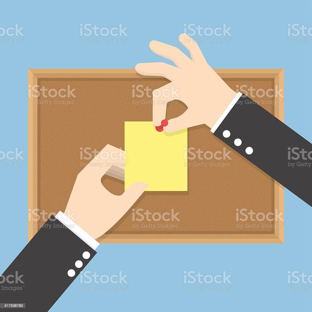 Businessman hands pin sticky notes on cork bulletin board vector art illustration