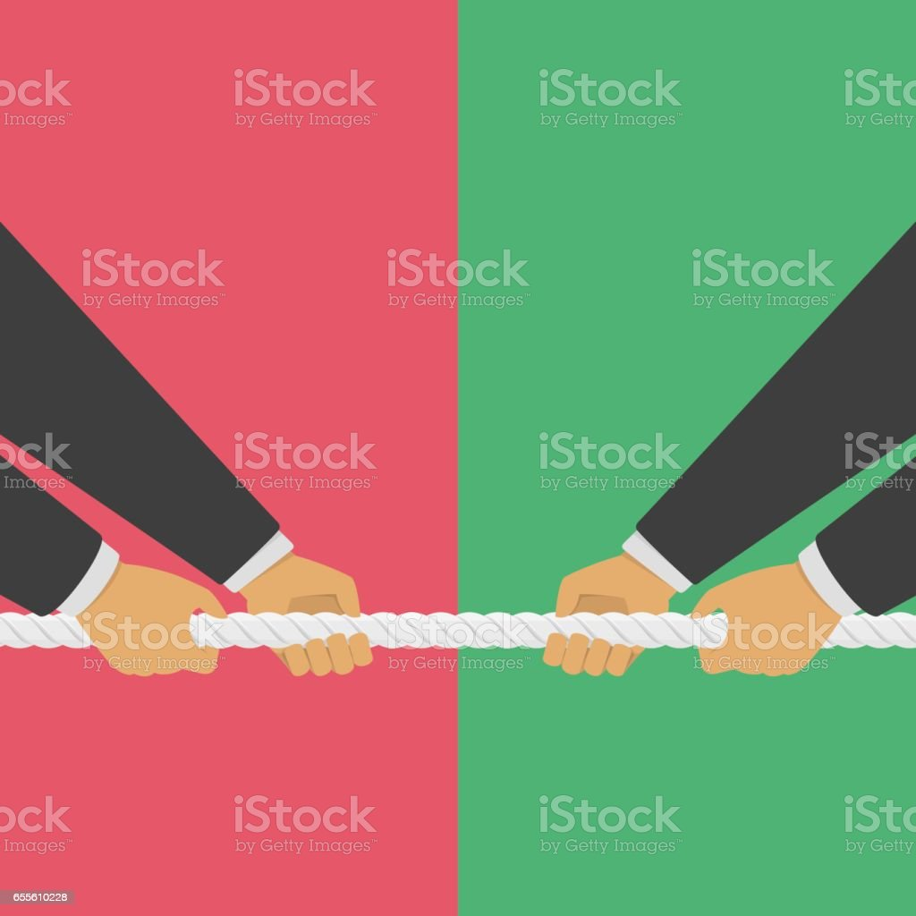 Businessman hands pulling rope. vector art illustration