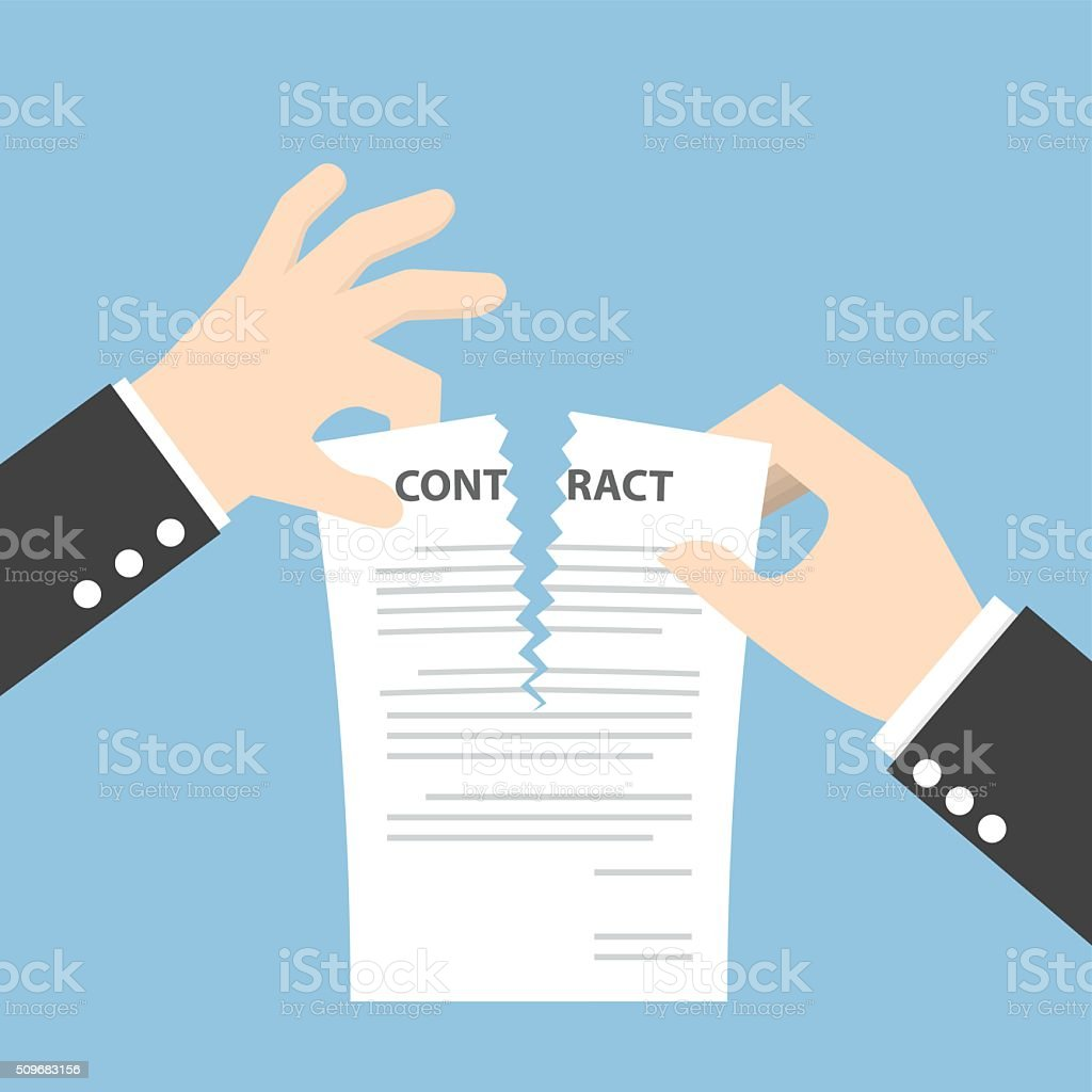 Businessman hands tearing apart contract document vector art illustration