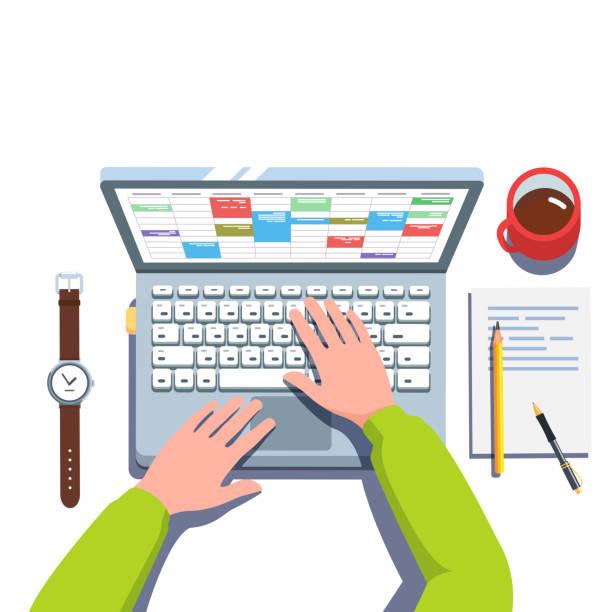 geschäftsmann hände arbeiten in kalender-app auf laptop-computer geschäft woche tagesordnung planungsaufgaben. ansicht von oben flach vektor-cliparts-illustration. - tischkalender stock-grafiken, -clipart, -cartoons und -symbole
