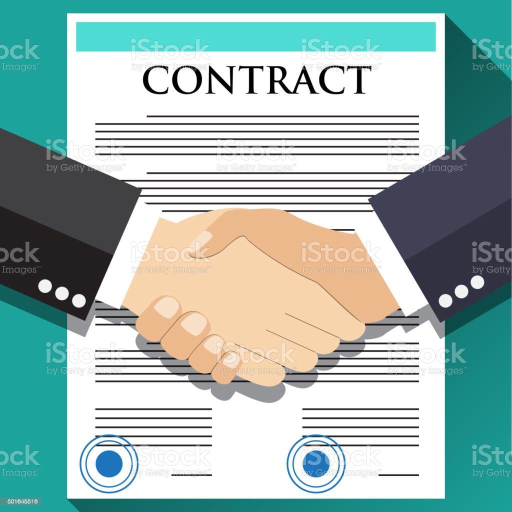 Businessman handshake on contract vector art illustration