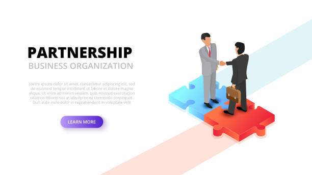 illustrazioni stock, clip art, cartoni animati e icone di tendenza di businessman handshake on puzzle. partnership concept. isometric 3d vector illustration. - azienda partner