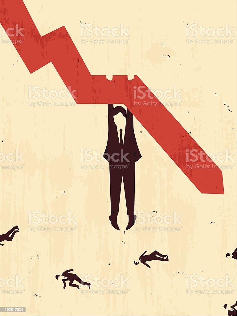 businessman hang on a graph royalty-free stock vector art