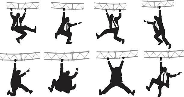 stockillustraties, clipart, cartoons en iconen met businessman hanging from a metal structure - schommelen bungelen