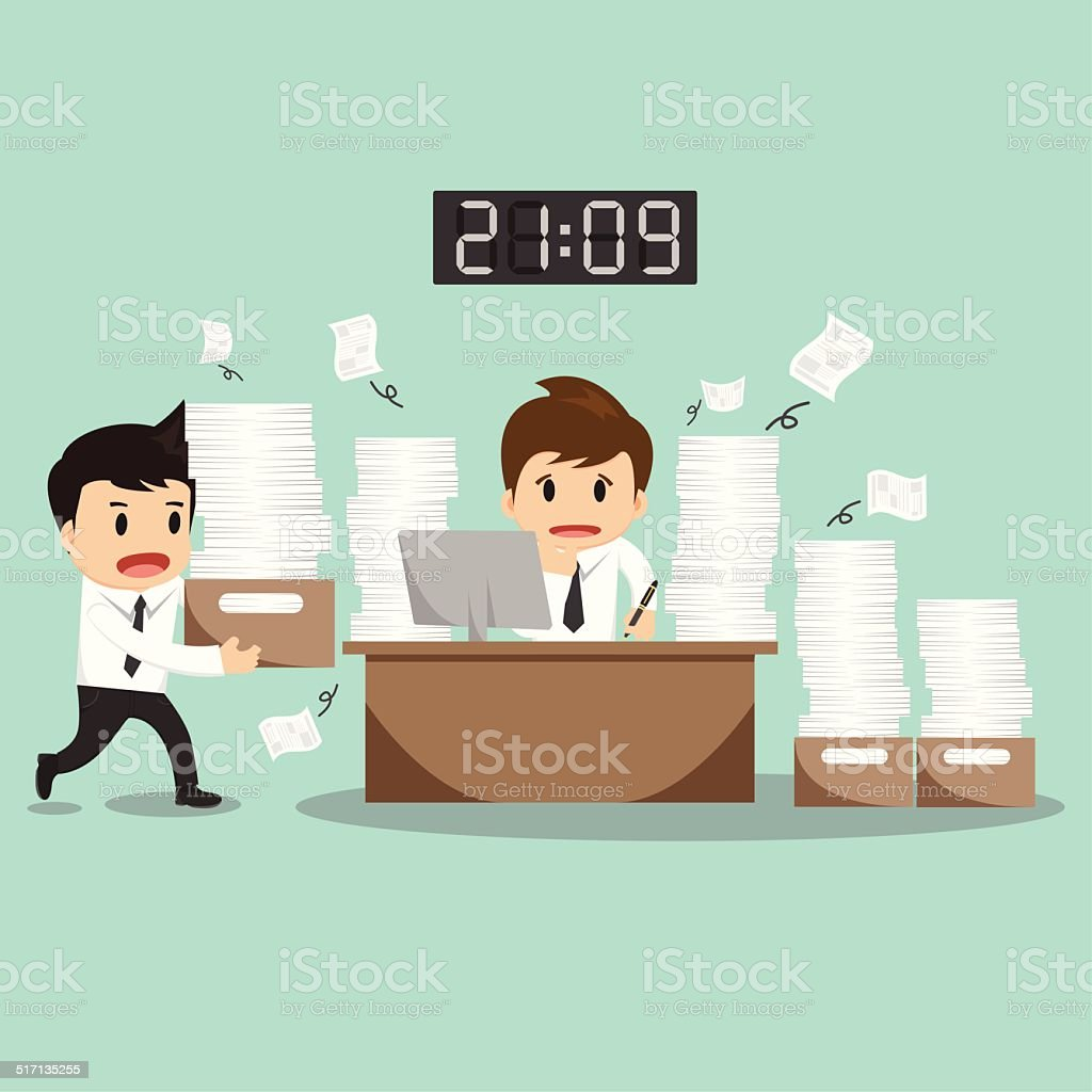 Businessman hard work on office vector illustration vector art illustration