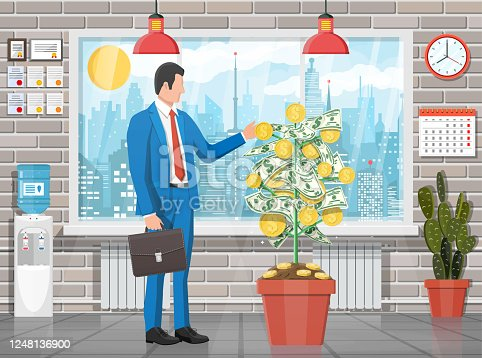 Businessman harvests from money coin tree. Growing money tree. Investment, investing. Gold coins and dollar banknotes on branches. Symbol of wealth. Business success. Flat vector illustration.