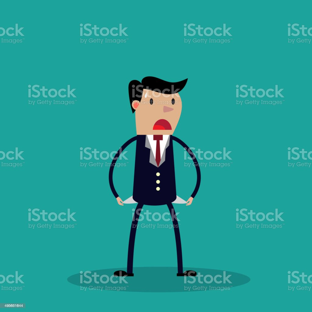 Businessman has no money vector art illustration