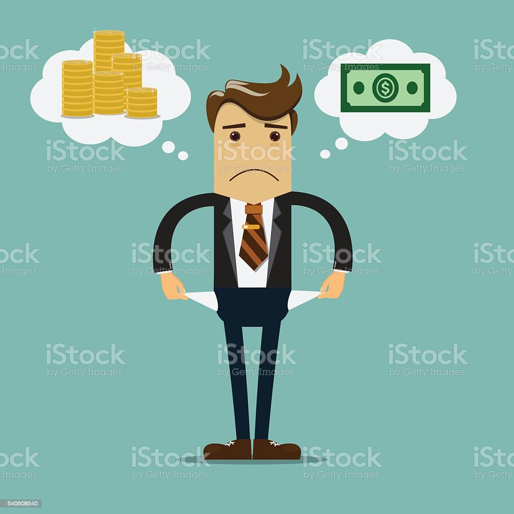 Businessman has no money vector illustration. - Illustration vectorielle