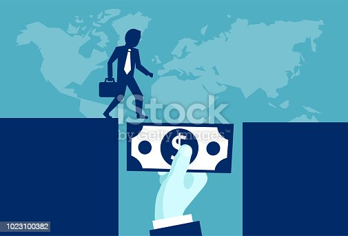 Vector illustration of powerful investor giving money supporting businessman in future development.